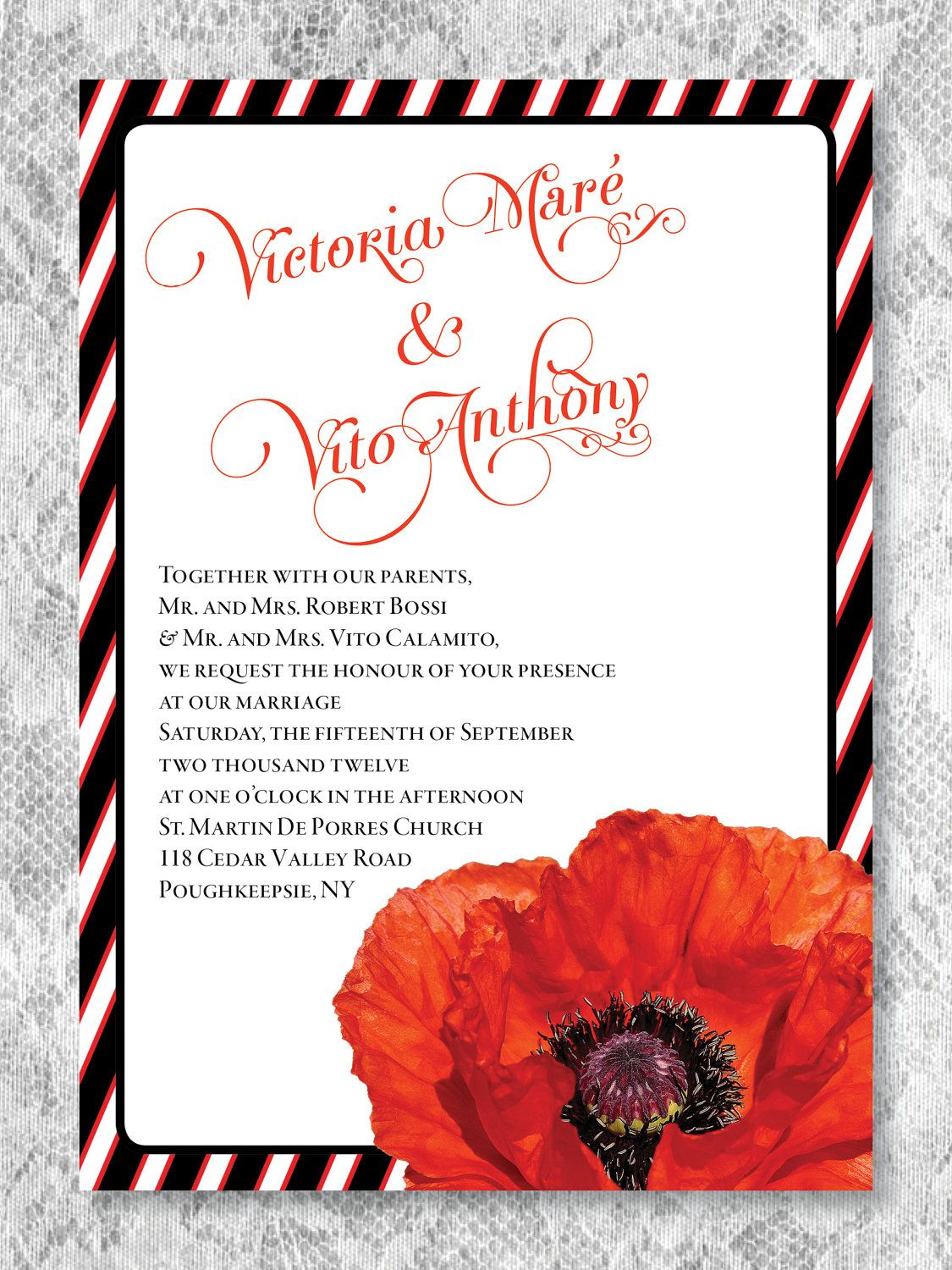 Wizard of Oz Poppy and Stripes Modern Wedding Invitation Deposit ...