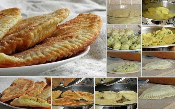 Chebureks with potatoes and cheese  Ingredients: For the dough: - 300 g of kefir  - 2 tbsp sour cream - 100 g plums. butter or margarine(melt) - 2 eggs - 1/2 tsp salt - 800-900... - Check more at http://recipesworthsharing.com/2015/11/24/chebureks-with-potatoes-and-cheese/