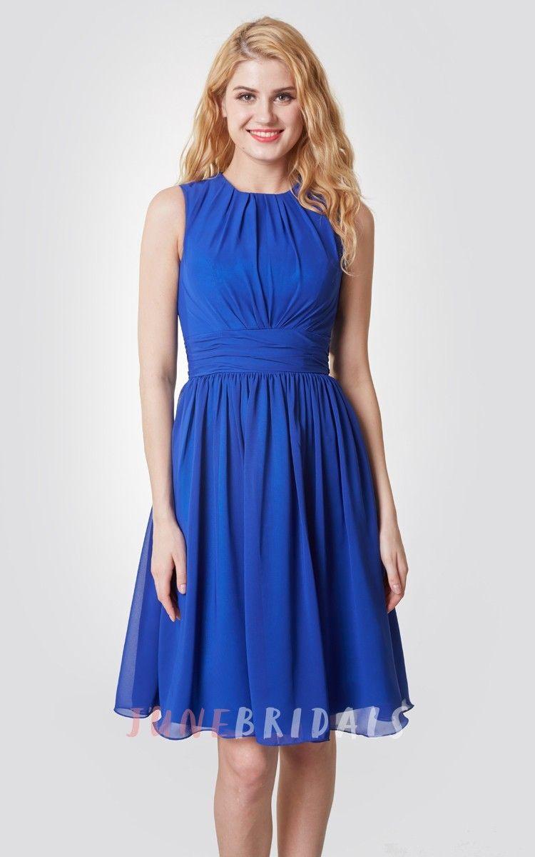 Amazing highneck knee length chiffon dress with pleats summer