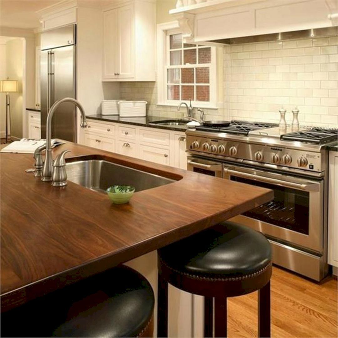 Kitchen Astounding Kitchen Design Ideas With Light Brown Solid Wood Countertops Including White Woo Kitchen Inspirations Ikea Kitchen Design Stylish Kitchen