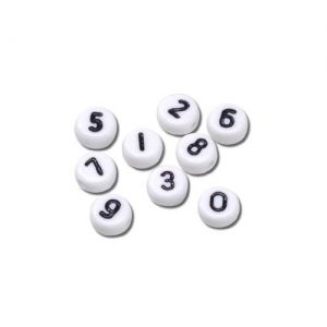 Assortiment de perles chiffres 7 mm blanc x120