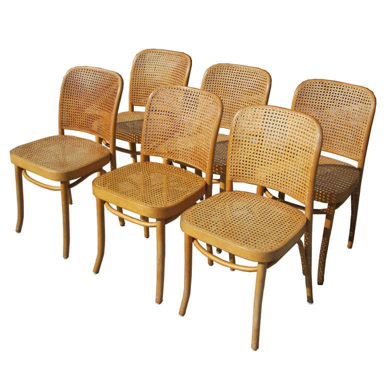 Exceptional Josef Hoffman For Thonet Set Of Six Bentwood And Cane Chairs