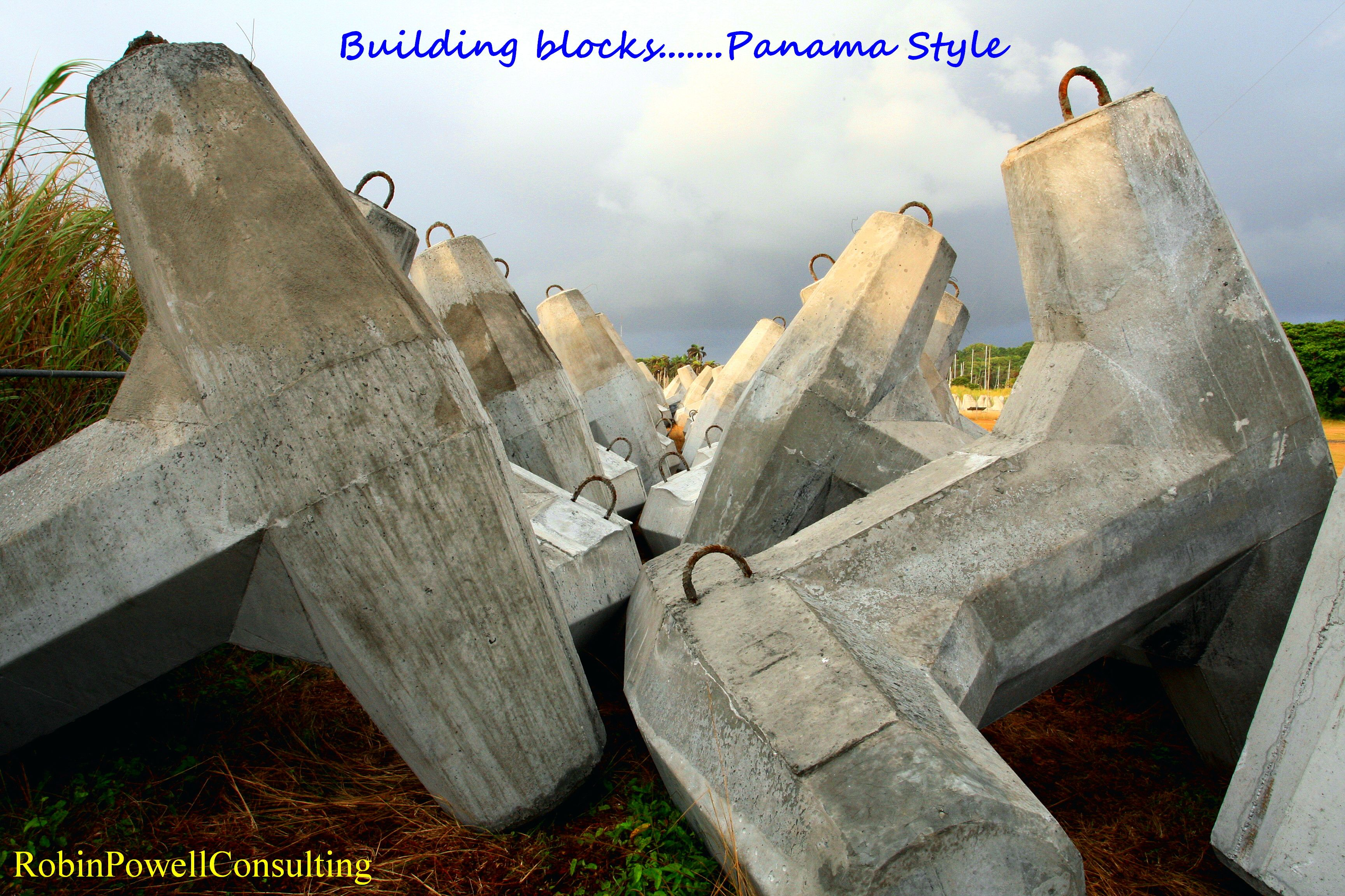 Building blocks for jetty, Panama