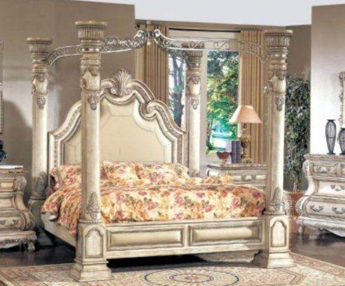 Yuan Tai Furniture Ca6621k Calidonian Whitewash King Bed By Yuan