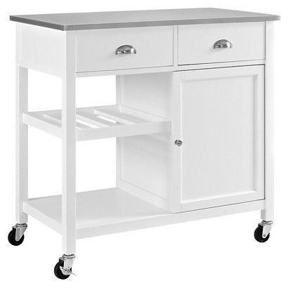 Stainless Steel Top Kitchen Island   Threshold™   White