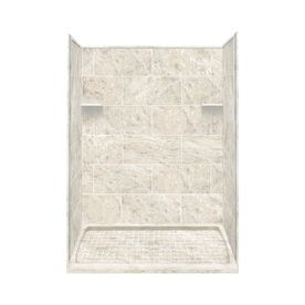 Style Selections Silver Mocha Solid Surface Wall And Floor 4 Piece Alcove Shower Kit Common 36 In X 60 Actual 75