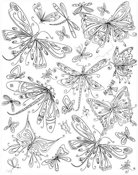 Butterflies Dragonflies Coloring Page Embroidery Pattern Inspiration