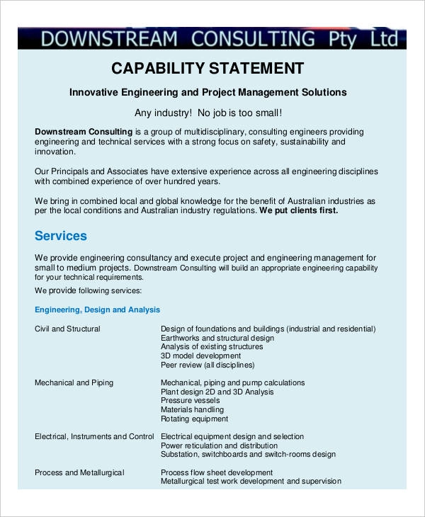 Capability Statement Templates 12 Free Printable Word