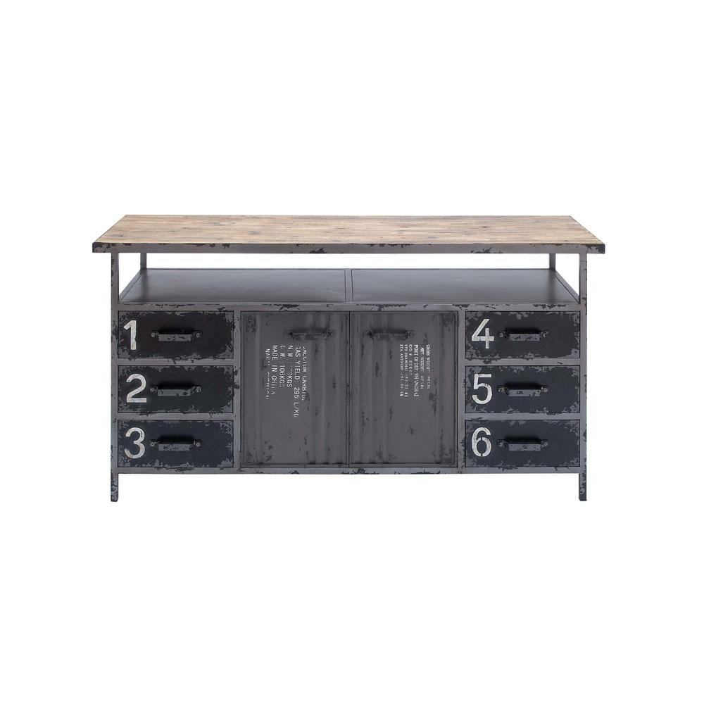 Litton Lane Gray Industrial Metal And Wood Utility Buffet Cabinet