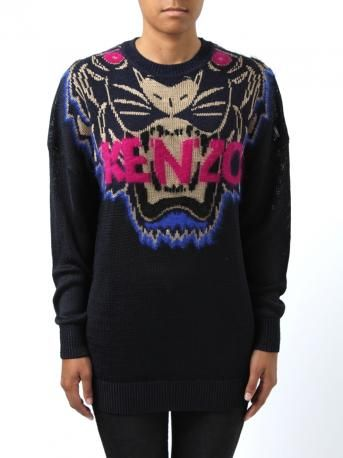 Knitted by Kenzo - Long knittewear in dark blue color with iconic tiger. Tiger design in golden color, mohair wool inserts: fuchsia eyes + profile in cornflower blue + fuchsia logo. Kenzo Fall Winter 2013-2014 Collection.