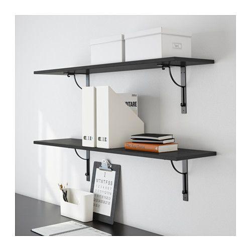 EKBY HEMNES / EKBY HÅLL Wall shelf - black-brown/black - IKEA