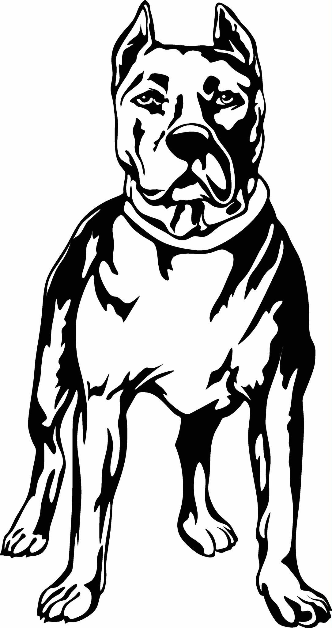Pit bull standing vinyl cut out decal sticker choose - Dessin de pitbull ...