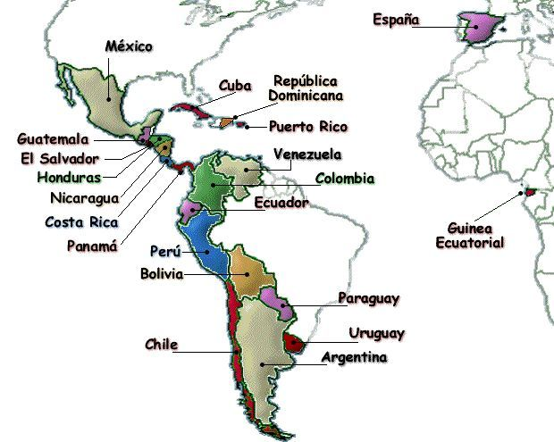Image result for map of spanish speaking countries and capitals image result for map of spanish speaking countries and capitals gumiabroncs Gallery