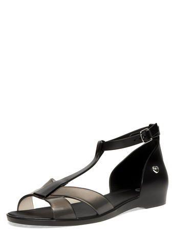 Black t-bar sandals