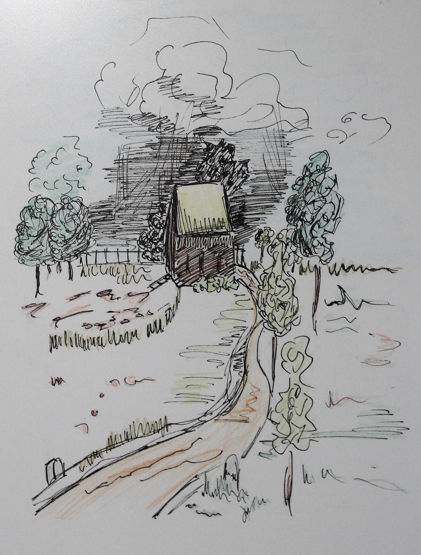 Haus Mit Garten Tuschezeichnung Tuschezeichnungen Zeichnung Zeichnen