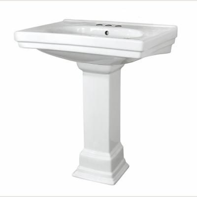 Foremost Structure Vitreous China Pedestal Bathroom Basin Combo In