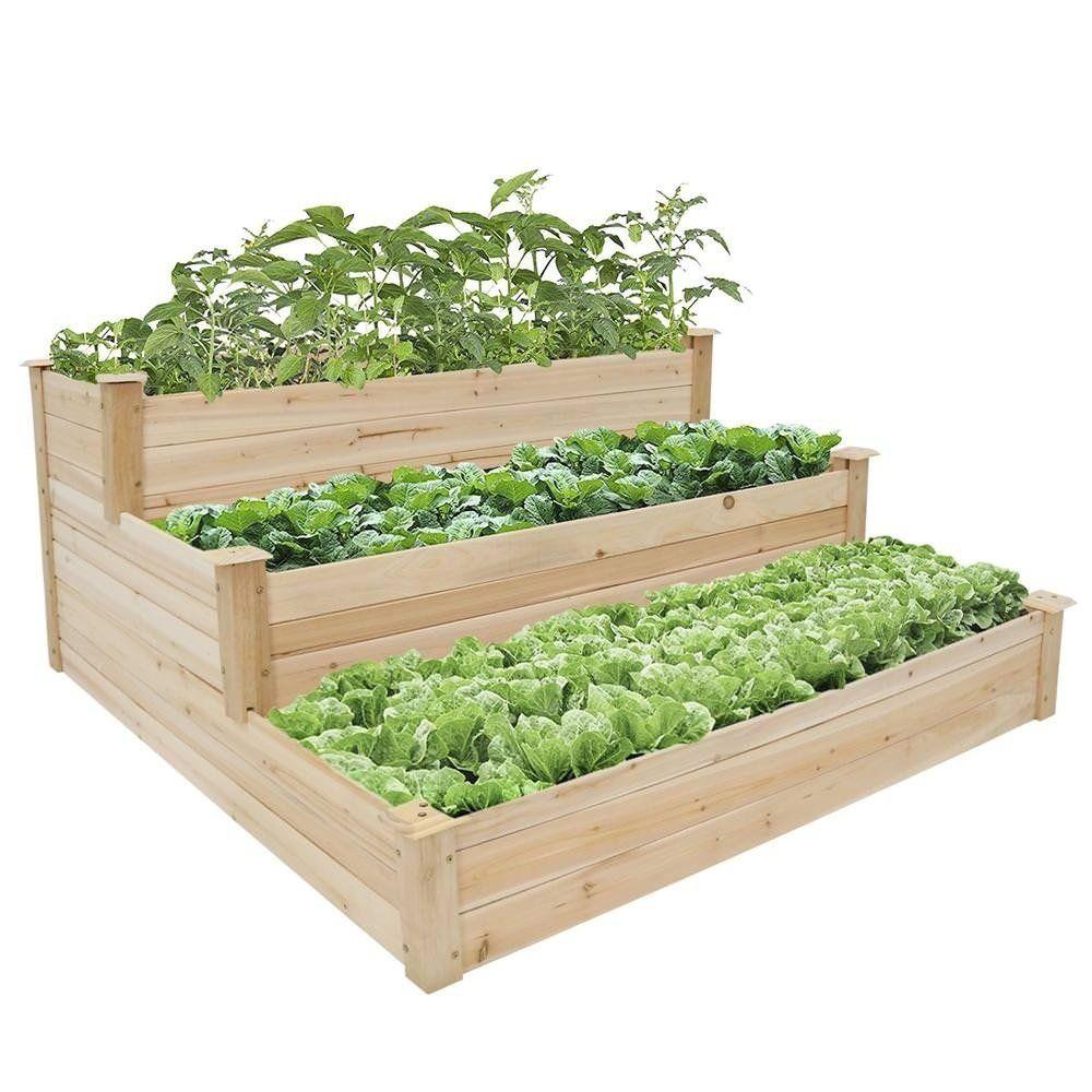 Kinbor 3 Tier Wooden Raised Garden Bed Elevated Planter Kit Vegetable Vegetable Garden Raised Beds Home Vegetable Garden Wooden Raised Garden Bed