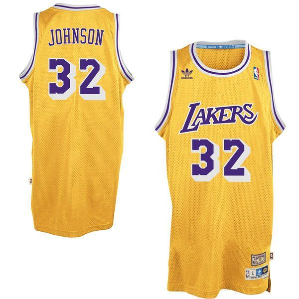 33f2134eb48 Men s Magic Johnson Los Angeles Lakers adidas Gold Hardwood Classic  Swingman Jersey