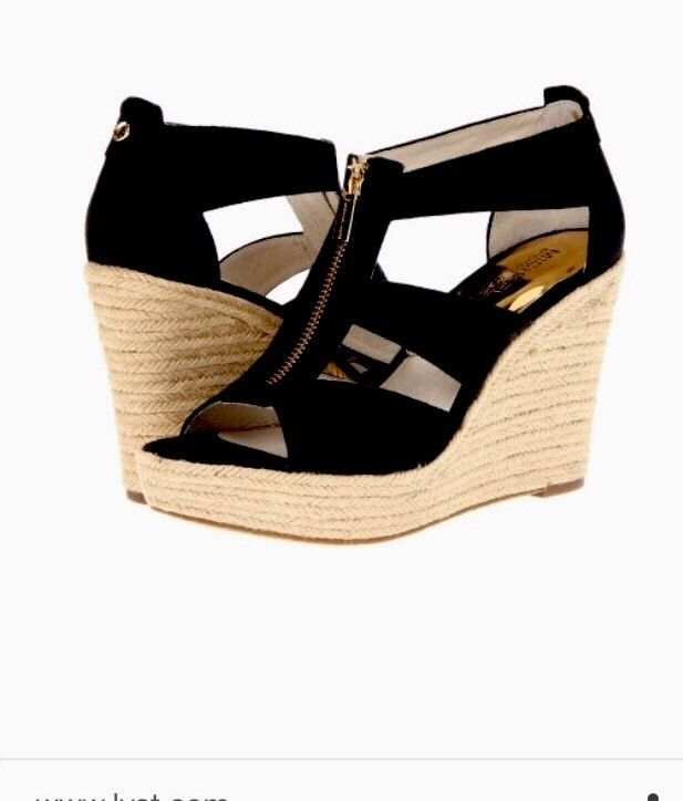 Women Michael Kors Damita Wedge Shoe Canvas Black size 11