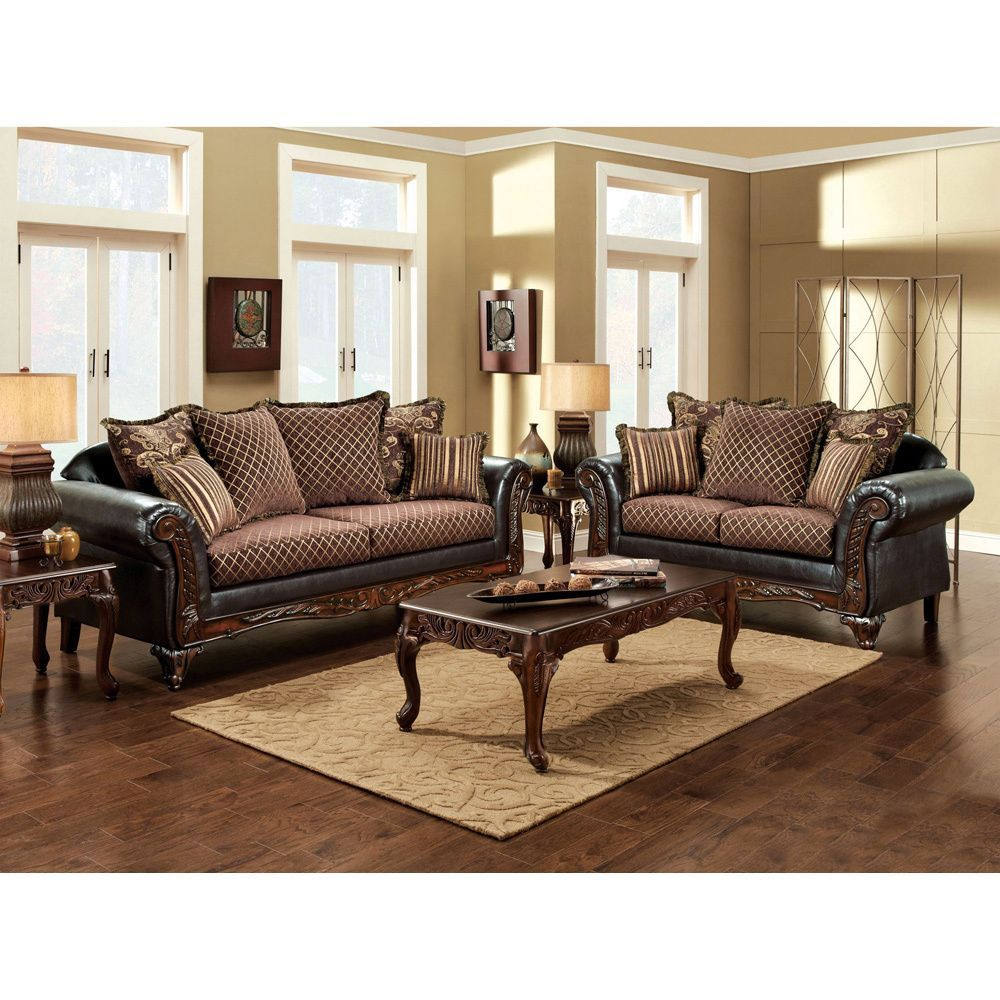 Traditional Living Rooms Furniture Fabric: Furniture Of America San Rozue 2-piece Fabric/ Leatherette