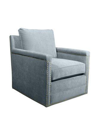 Best Avis St Clair Sky Blue Velvet Swivel Chair Swivel Chair 400 x 300