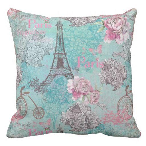 Throw Pillows With Bikes : Vintage Paris-Eiffeltower- Flowers Bicycle Throw Pillow Beautiful Pillows Pinterest ...