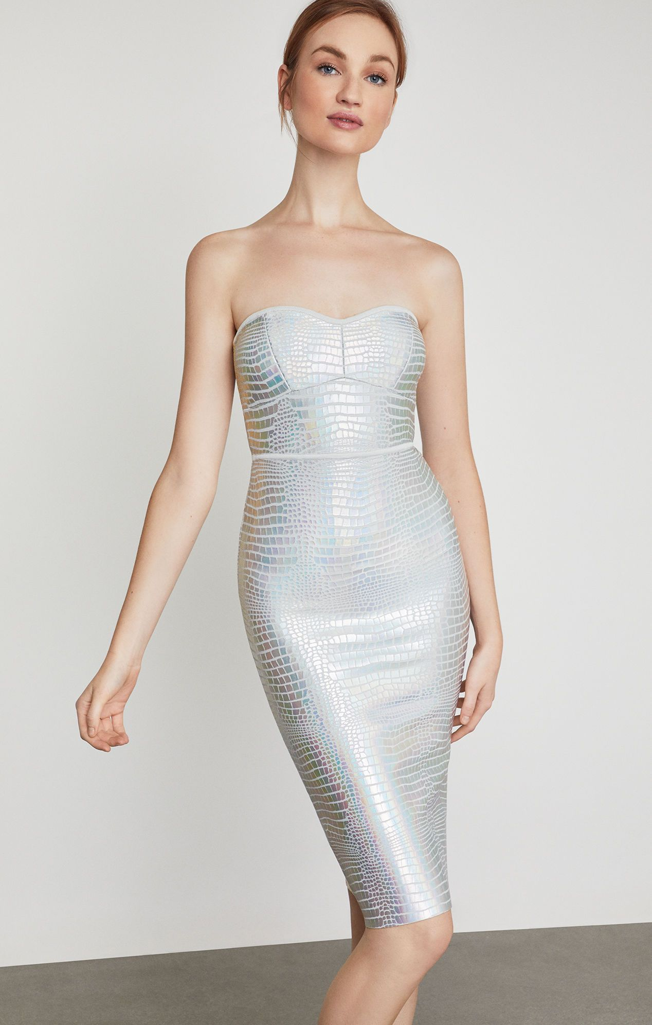 768fb7fb4b6 BCBGMAXAZRIA Faux Croc Metallic Dress in 2019