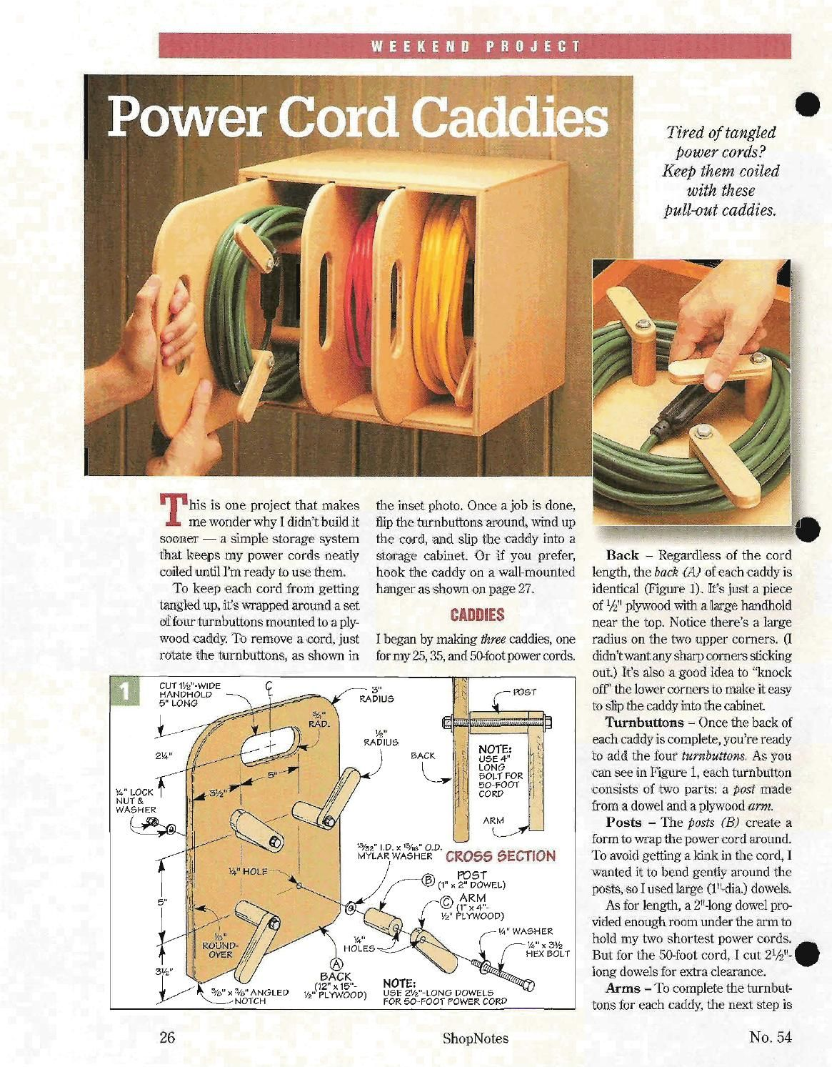 shopnotes issue 54 by adrian kuney extension cord storage box
