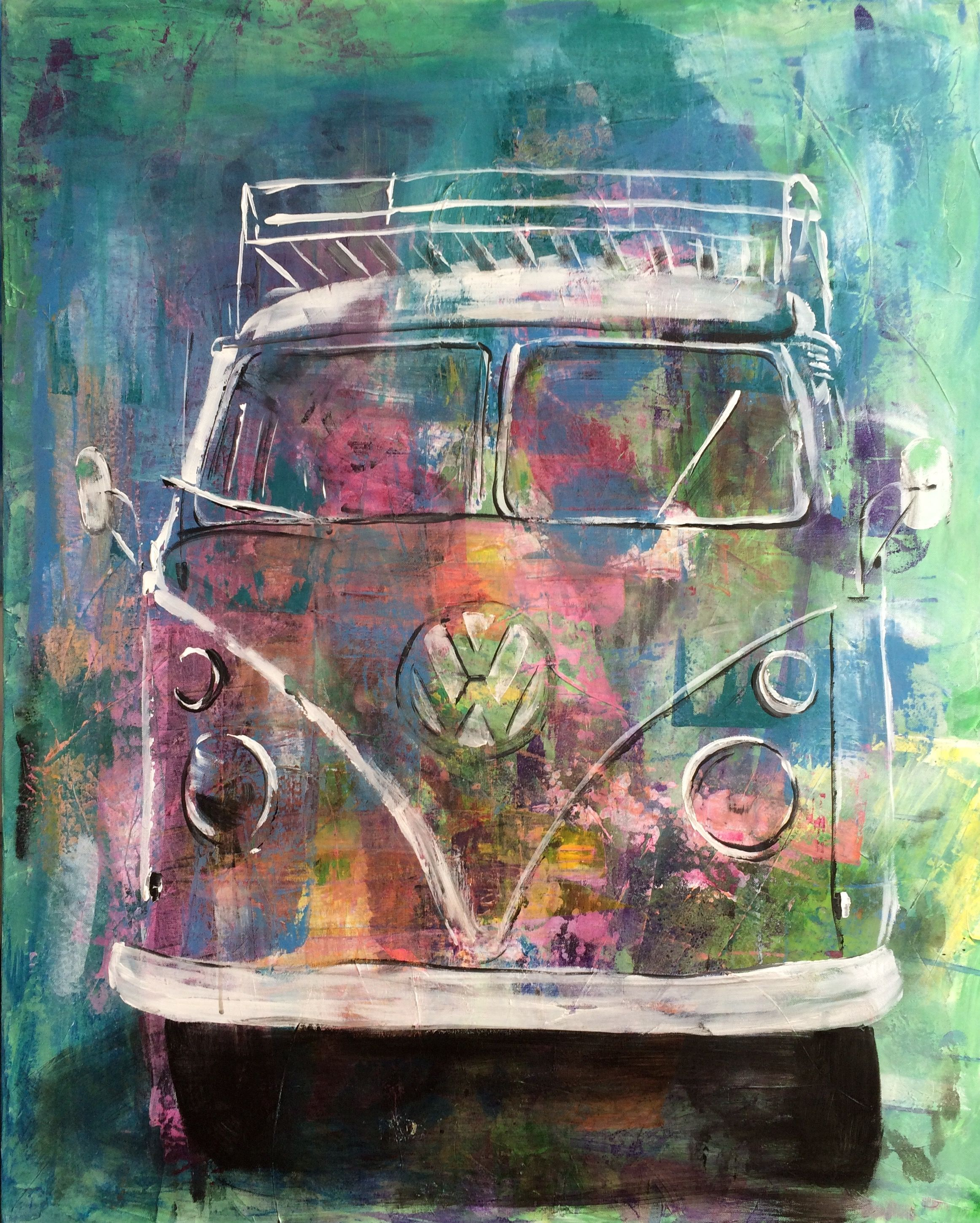 vw bulli t1 bunt popart gemalt art kunst vw bus. Black Bedroom Furniture Sets. Home Design Ideas
