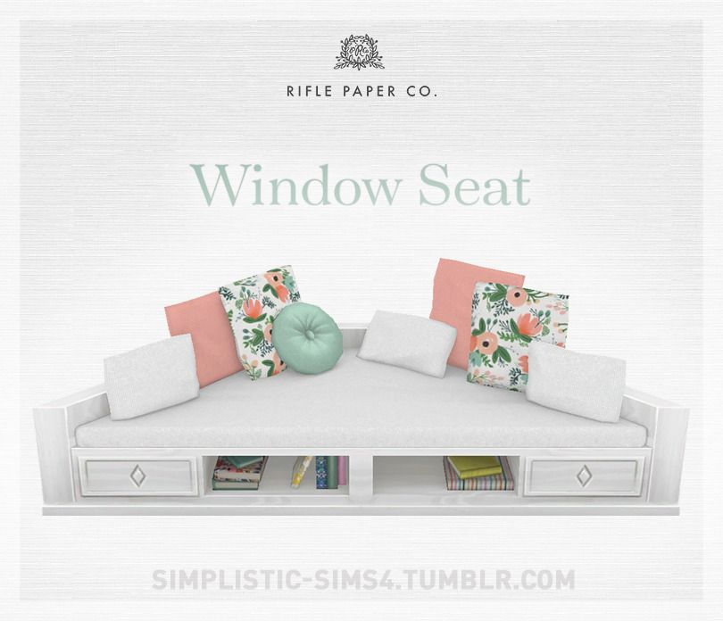Window SeatRifle Paper CollectionAre you ready to banish winter and welcome spring? Get a head start with this lovely window seat decorated with beautiful Rifle Paper pattern pillows!  The rest of the set can be found here.  Requires Cats &... #paperpatterns
