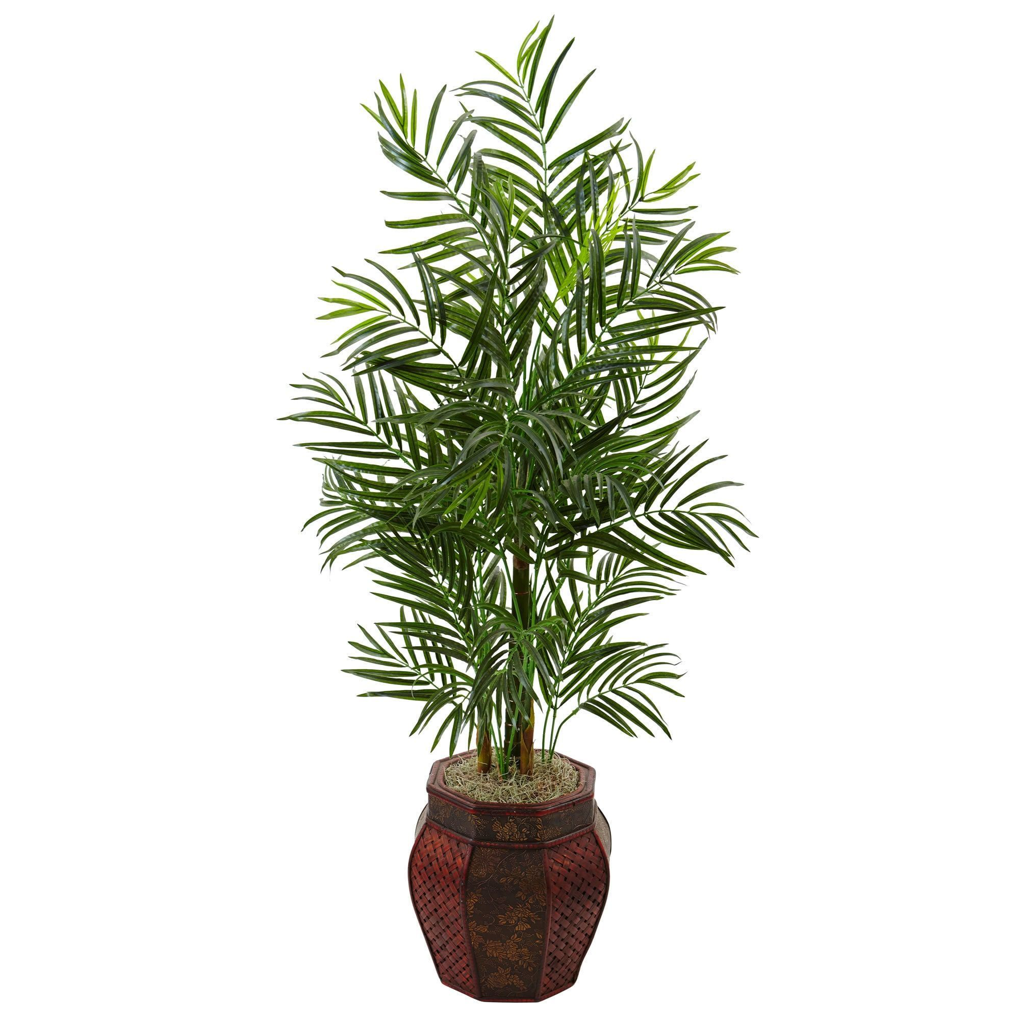 Nearly foot areca palm tree in weave planter products