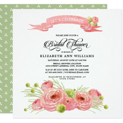 Romantic floral painting bridal shower invitation filmwisefo
