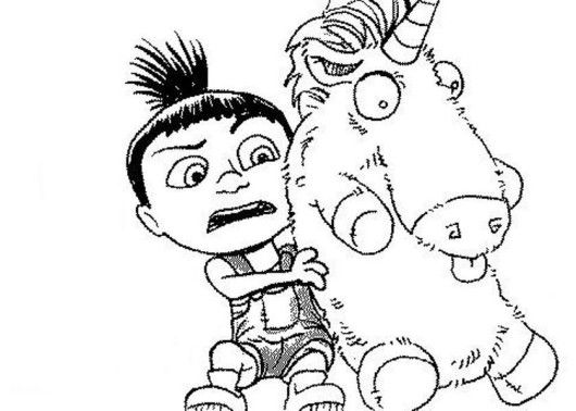 Agnes And Unicorn Despicable Me Easy Coloring Pages ...