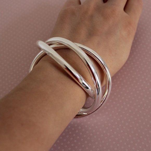 Silver Bangle , Metal Bracelet Very Cute Silver Plated Bracelet Jewelry Bracelets