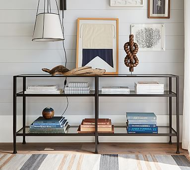Tanner Metal Glass Long Console Table Matte Iron Bronze Finish Console Tables Pottery Barn Console Table Decor Home Decor