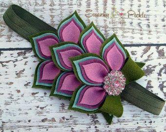 Felt Flower Headband  Turquoise Pink  by SwankyPickleBoutique
