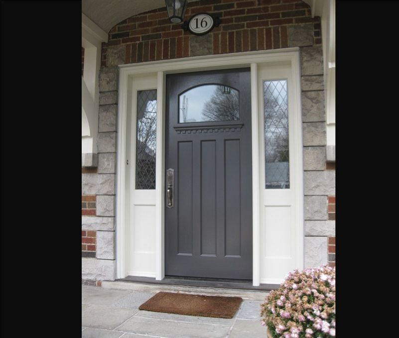 Doors fiberglass front door with sidelights and for Entry doors with sidelights