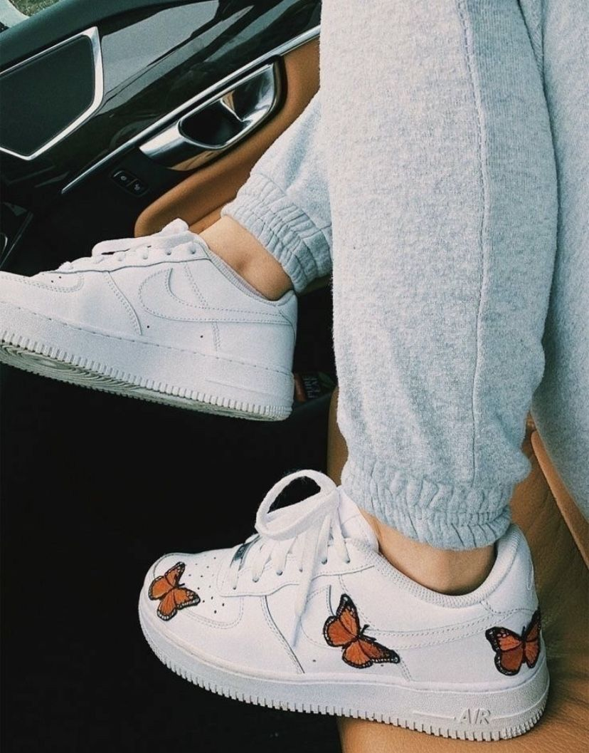 Nike Air Force 1 Butterfly Teenager Casual Jeans Cute