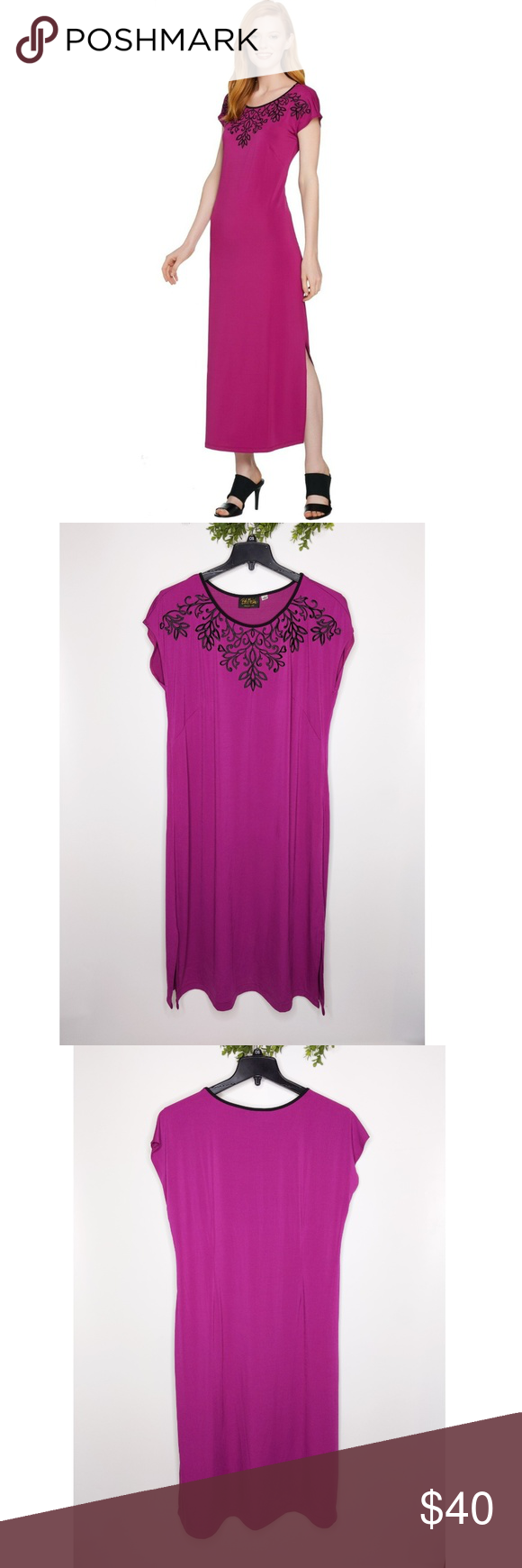Bob Mackie Maxi Dress 1x Embroidered Dolman Sleeve Dresses Maxi Dress Maxi Styles [ 1740 x 580 Pixel ]