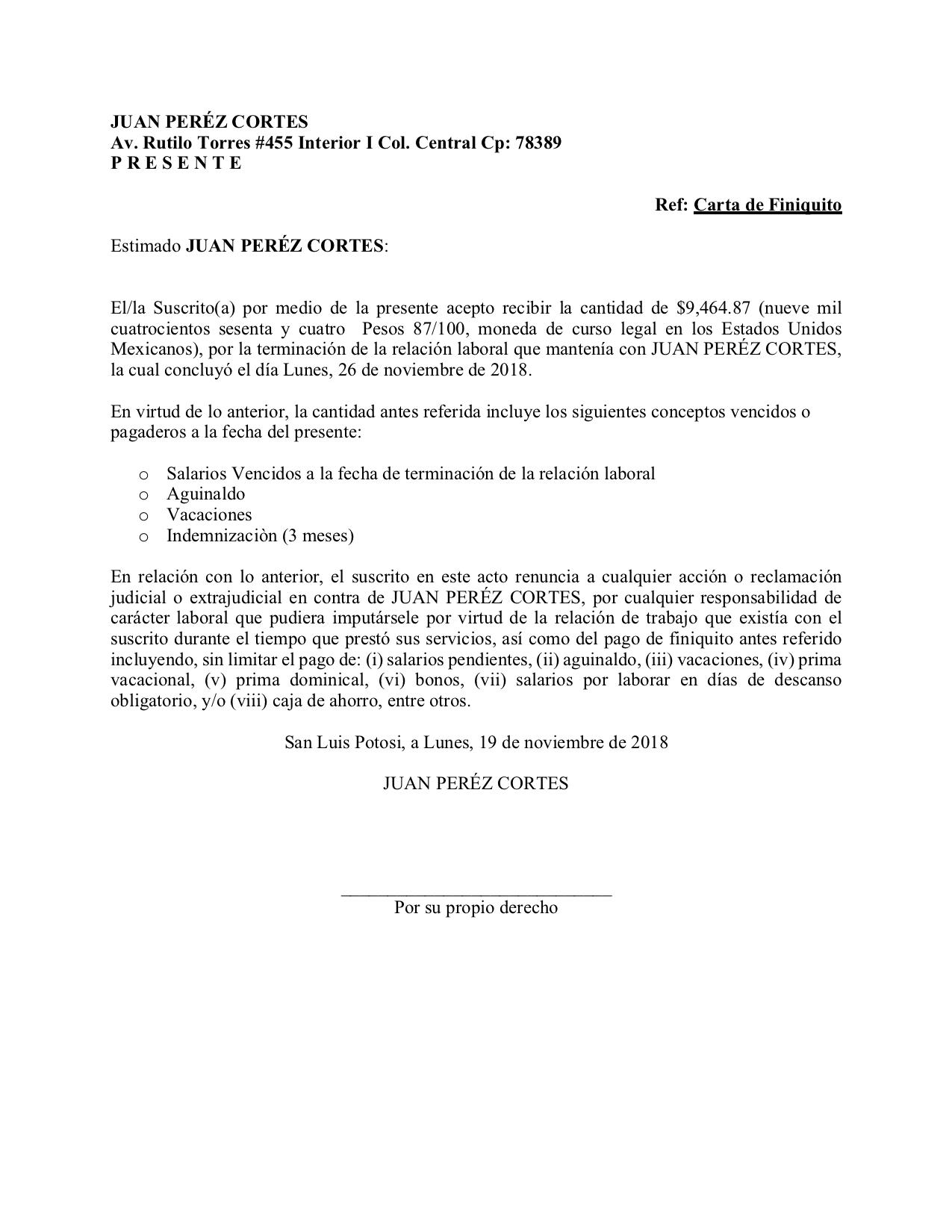 Finiquito Laboral Carta Ejemplo Descarga En Legalario Finiquito Laboral Carta De Referencia Cartas De Recomendacion