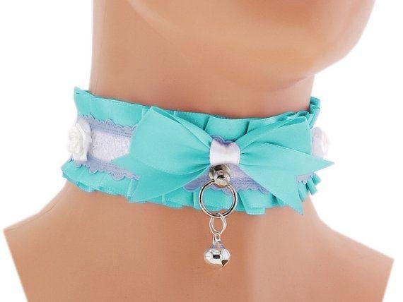 Turquoise satin Kitten Collar, Kitten Play Collar, Pet Play Collar, Choker, neko girl Collar, BDSM, ddlg Collar, kawaii Princess, puppy 4Y