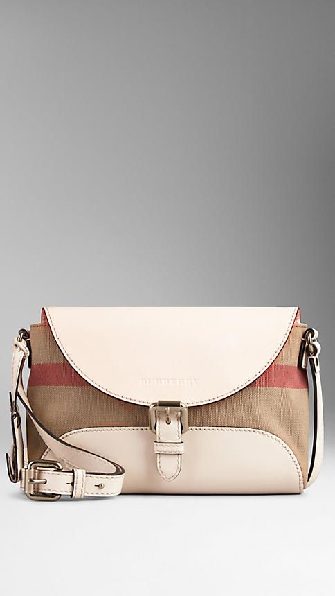 Small Canvas Check and Leather Crossbody Bag | Burberry