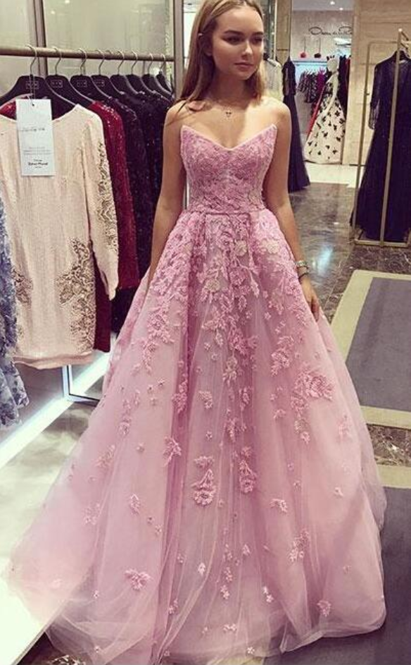 Pink Prom Dress,Cheap Prom Dress,tulle lace Prom Dress,Lace #prom ...