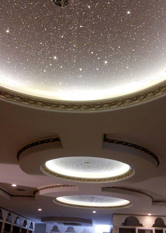 Stunning White Glitter Wallcovering On Ceiling In Entrance