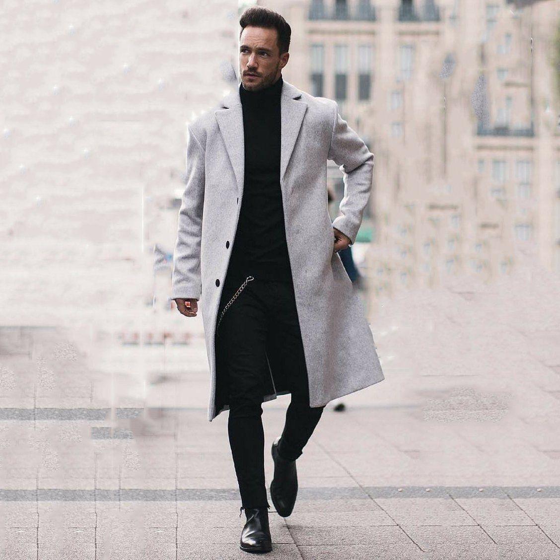 Business Fashion Slim Solid Color Button Lapel Long Sleeve Suit Men Outerwear #stylishmen