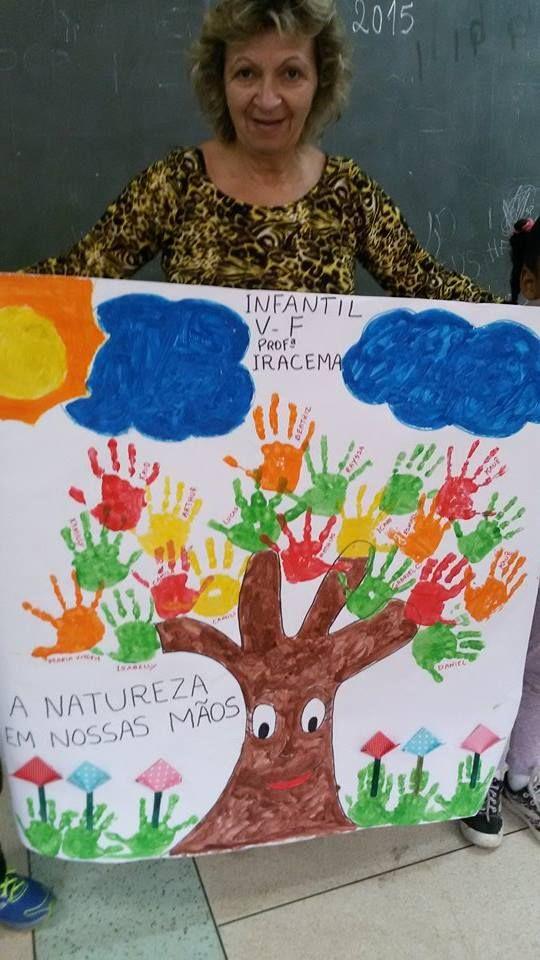 Painel Primavera árvore Carimbo De Mãos Primavera Pinterest