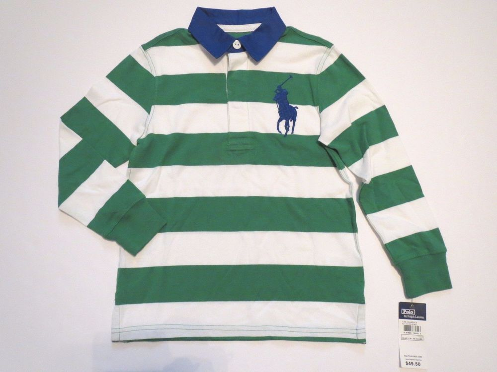POLO RALPH LAUREN Boys 4 4T Striped Rugby Large Logo Polo Shirt Long Sleeve  NWT #PoloRalphLauren #Everyday