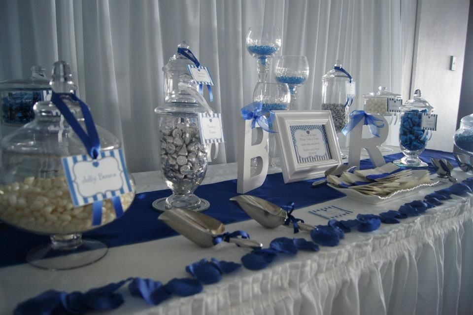 White And Navy Candy Buffet Bing Images Bridal Shower Candy