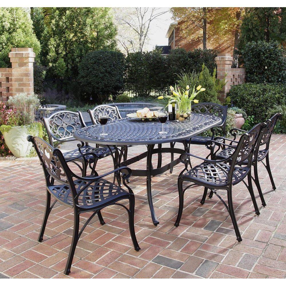 HOMESTYLES Sanibel Black 10 Piece Cast Aluminum Outdoor Dining Set ...