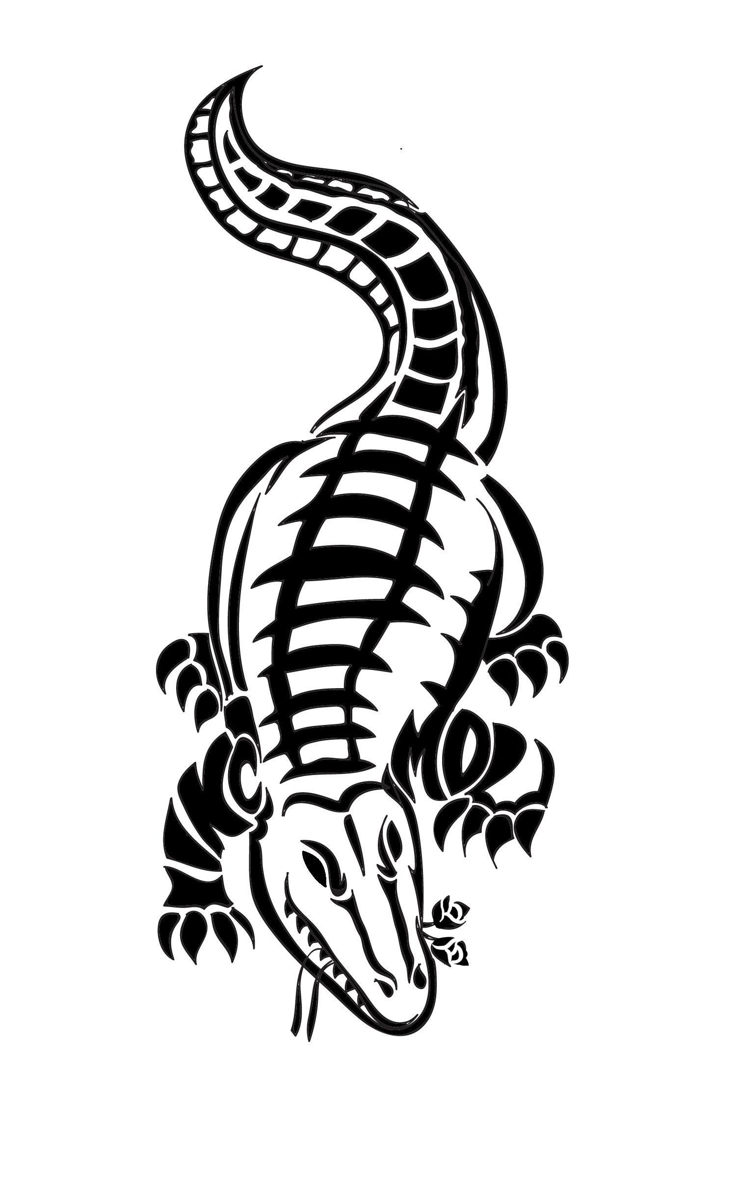 9d45aaa3a34a1 Alligator tribal tattoo with roses. Jm- Mazio eden | ArtistJazz ...
